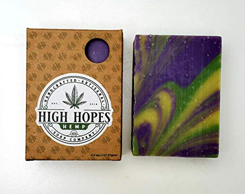Hemp Soap By High Hopes Hemp. (Sweet Pear, 4.5 oz Bar) Handcrafted USA, Made With Organic, Sustainably Sourced Oils, IFRA Compliant Fragrance