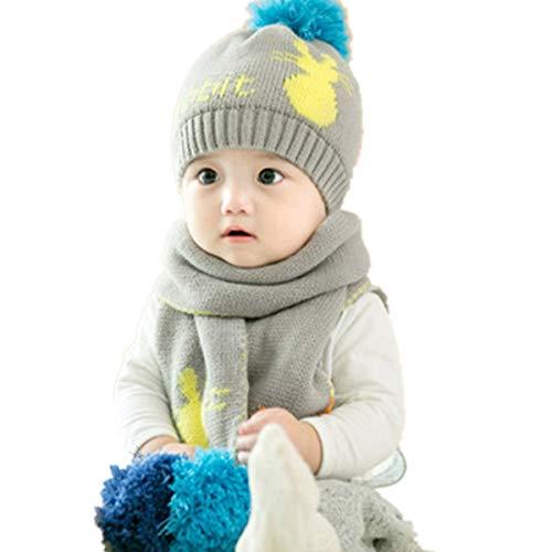 de ni gris guantes Sombrero y bufanda a Adiasen xwzXI7n