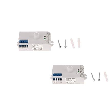 Sharplace 2x Interruptor de Control de Luz Detector de Movimiento de Cuerpo Sensor Radar SK-