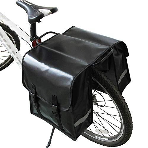 Disconano Outdoor Riding Bicycle Bag Super Waterproof Fabric Mountain Bike Rear Frame Trunk Bag (Black-40L)