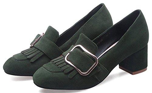Femme Talon Escarpins Vert Bloc Franges Aisun Confortable SdwxWq00
