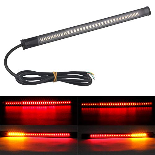 Motorcycle Light Strip Red + Yellow 48 LED LED Decorative Tail Light/Turn Signal Light/Running Light/Brake Light/Stop Light/License Plate Light DC 12V Universal Flexible ()
