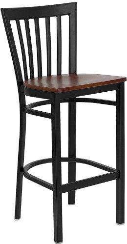 Flash Furniture HERCULES Series Black School House Back Metal Restaurant Bar Stool - Cherry Wood Seat [XU-DG6R8BSCH-BAR-CHYW-GG]