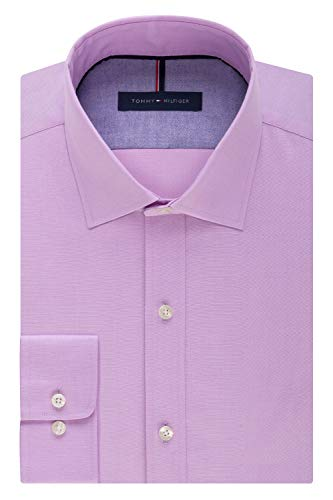 (Tommy Hilfiger Men's Non Iron Slim Fit Solid Spread Collar Dress Shirt, Frosted Lilac, 15