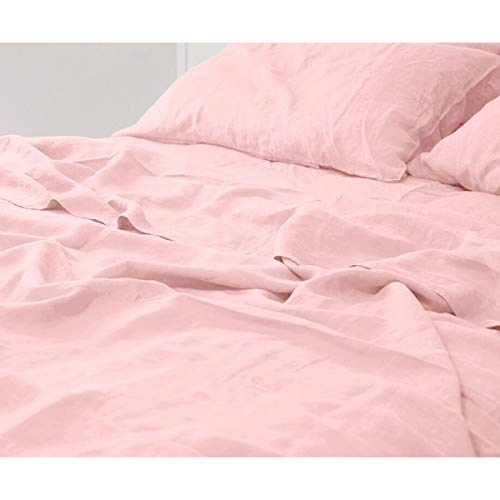 Micasa Collection Premium 100% French Linen Sheet Sets Durable Breathable Heavy-Weight Quality - Linen Bedding Set (Twin, Light Pink) from Micasa Collection