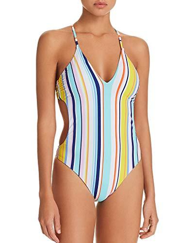 Nanette Lepore Women's V-Neck Strappy Back One Piece Swimsuit, Multi, -