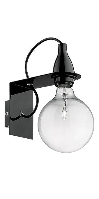 48 opinioni per Ideal Lux Lampada Da Parete Minimal AP1, Lampada Metallo Rifinito Nero, Cavo
