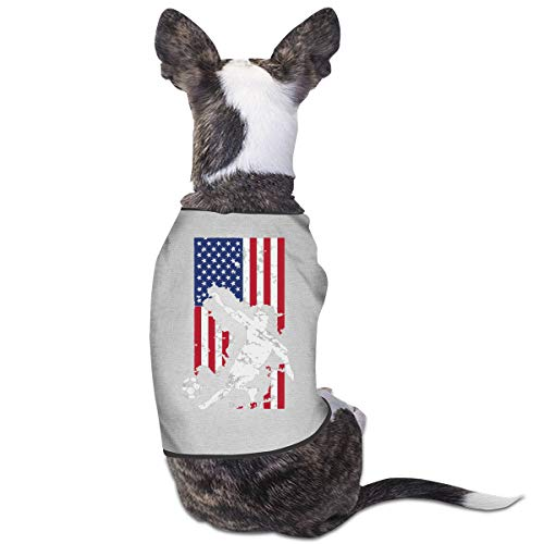 LNUO-2 Pet T-Shirts, American Flag USA Soccer Player Dog Cat Vest Costumes ()