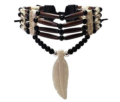 Blk-Wht//Turq Mtn Man-Powwow NEW Handmade Genuine Buffalo Bone 4-Row Choker