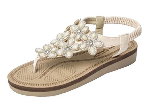 Womens Ladies Diamante Flower Wedge Platform Comfort Slip On Elastic Slingback Summer Gladiator Sandals Shoes - E41 Nude 0lknMY