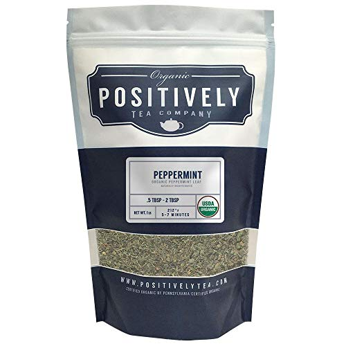 (Positively Tea Company, Organic Peppermint Leaf, Herbal Tea, Loose Leaf, USDA Organic, 1 Pound Bag)