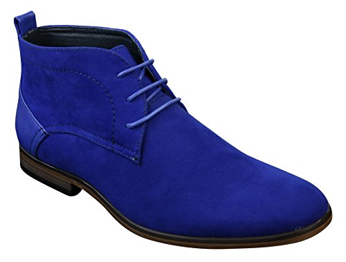 Mens Suede Desert Ankle Red Grey Brown Blue Boots Shoes Smart Casual Leather Laced Blue