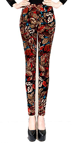 Allonly Women's Winter Printed Super Warm Velvet Thick Thermal Leggings Pencil Pants (Pants Womens Washable Velvet)