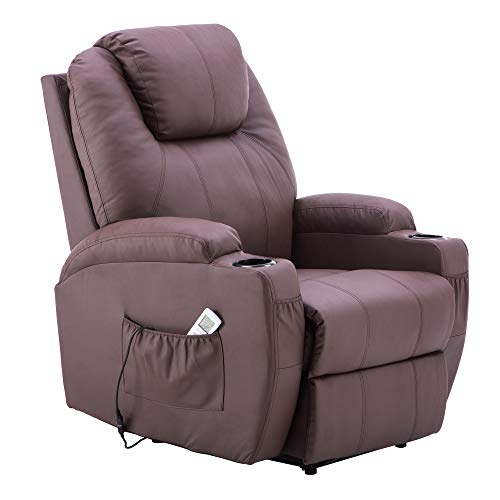MCombo Electric Power Recliner Massage Ergonomic Chair Vibrating Heated Lounge Remote PU Leather 7050 (Brown)