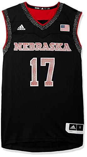 adidas NCAA Nebraska Cornhuskers Mens Iced Out Replica Basketball Jerseyiced Out Replica Basketball Jersey, Black, Medium (Cornhuskers Mens Nebraska Basketball)