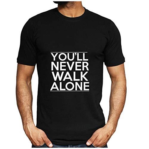 iHPH7 T-Shirt Short-Sleeve Crewneck T-Shirt Summer Fashion Casual Letter Solid Color Print Blouse Men (M,2- Black)]()