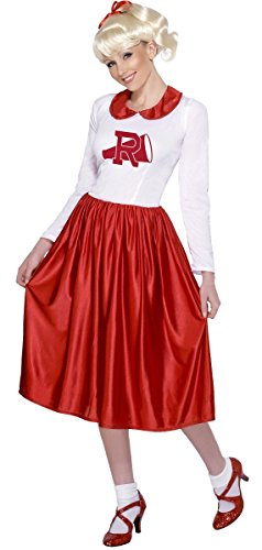 Ladies Longer Length 1950s 50s Cheerleader Sandy Grease Film Full Length Fancy Dress Costume Outfit 8-10-12]()