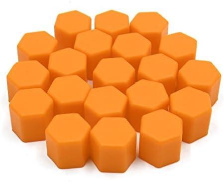 uxcell ナットキャップ ナットカバー シリコーン製 タイヤスクリューキャップ 17mm オレンジ 20個入り
