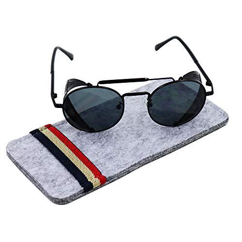 Ibeauti Retro Round Steampunk Sunglasses Side Shield Goggles Gothic Sunglasses ()