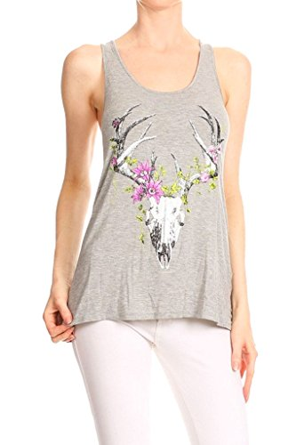 Flowering Deer Skull Racerback Tank Gray Small