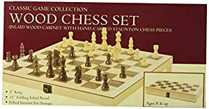 "John N. Hansen Hansen Games Classic Natural Wood Wooden Chess Set 15"" Inlaid Board with Hand Carved Chessmen and Storage"