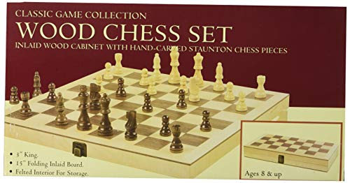 "Hansen Games Classic Natural Wood Wooden Chess Set 15"" Inlaid Board with Hand Carved Chessmen and Storage ()"