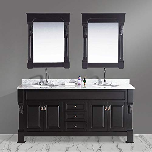 Design Element Marcos Double Sink Vanity Set with Carrara White Marble Countertop, ()