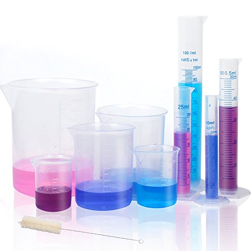 APLANET 4 Transparent Plastic Graduated Cylinders, 10ml, 25ml,