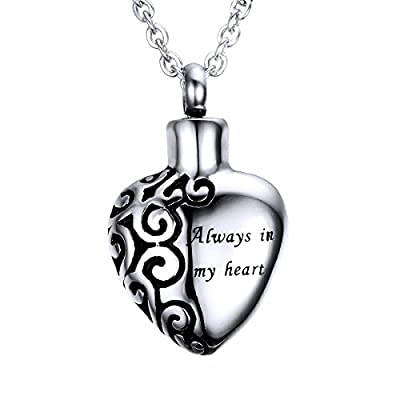HooAMI Cremation Jewelry Heart Charm Memorial Urn Necklace Ashes Keepsake Pendant