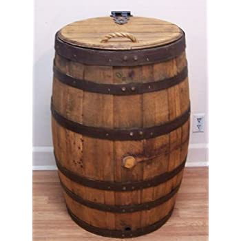 Amazon Com Old Whiskey Barrel Trash Can With Single