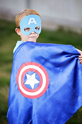 Captain America Super Hero Cape & Mask - Red, White and Blue Super Hero Cape, Super Hero Mask & Cape, Captain America ()