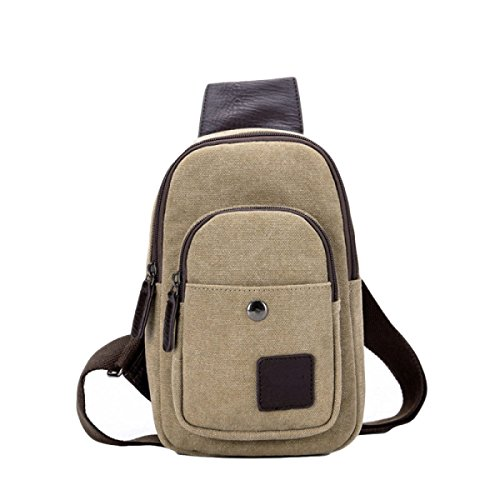 Cross Backpack Casual Oblique Package Chest Men Pockets Bag Students Male Canvas Brown Fashion XAZwXxR