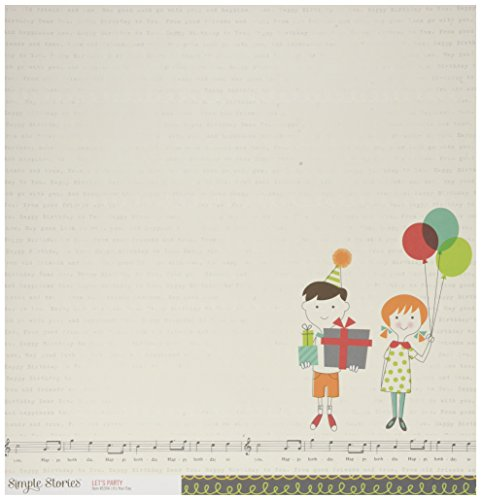 Simple Stories 5304 25 Sheet It's Your Day Let's Party Double-Sided Cardstock, 12