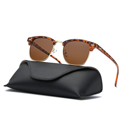 Ray Parker Classic Clubmaster Horn Rimmed Semi Rimless with Polarized Lenses for Men Sunglasses RP6623 with Demi Brown Frame/Brown - Sunglasses Parker