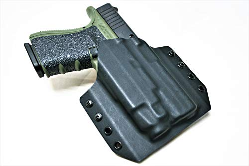 Code 4 Defense Kydex OWB- Outside The Waistband Holster for Glock 19 TLR-7- Right Hand Black