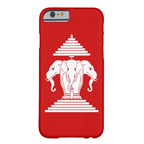 Iphone 6 Plus Case,Erawan Three Headed Elephant Lao Laos Flag Barely There Phone Case for Iphone 6 Plus (5.5-Inch)
