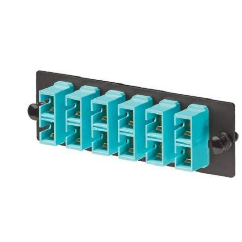 Panduit FAP6WAQDSC Multi-Mode 6-Port Fiber Adapter Panel with Phosphor Bronze Split Sleeve, Aqua