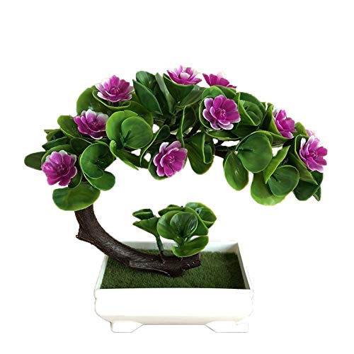 Lorchwise 2 PCS Simulation Half Moon Shape Lotus Flower Potted Decoration- Indoor Desktop Decoration Simulation Bonsai - Purple Red