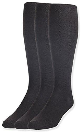 JRP Men's Knee Length Flat Extra Soft Cotton Knit Dress Socks - 3 Pack -Black ()