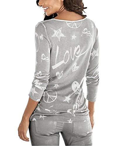 Chemisier Grau Femme Haut Jeune Manches Chemise Motif Strass Mode Mode Col Coeur breal Longues Automne Shirts Casual Impression Rond De Hiver Elgante Bq1aSw