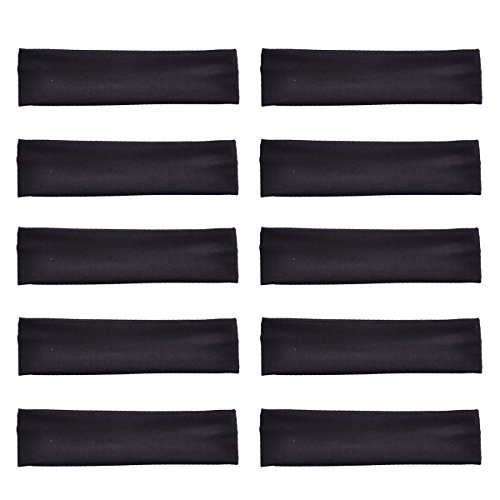 10 Pack Cotton Yoga Headbands by Teemico - Cotton Stretch Headbands Elastic Yoga Hairband for Teens Girls Women Exercise Running Sports Hair Wrap Accessories,Black -