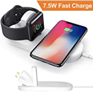 CulaLuva Magnetic Wireless Charger 2-in-1 Pad Stand Cable Compatible with Apple Watch, for iPhone...