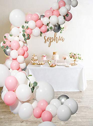 Beaumode DIY Pink&White Balloon Garland Arch Kit for 77pcs Pink balloons Baby Shower Bridal Showers Wedding Bachelorette Engagement Party Decorations Party Backdrop Venue -