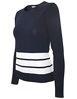 Cielo Women's Long Sleeve Thermal Striped Color Basic Sweater Top