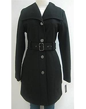 Guess Belted Wool Coat, Jacket, Black, Large, Mw340
