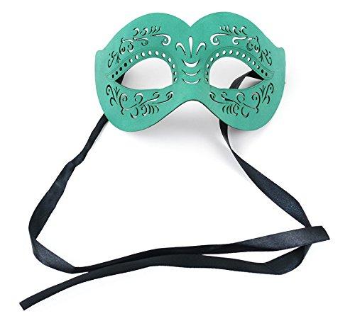 Jade Green Masquerade Leather Half Mask 9 Inch with Satin Ribbon 1Pc Jade Satin Ribbon