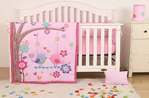 Sapphire Home 4 Piece Crib Bedding Set for Baby Girls, Crib Comforter/Bumper/Fitted Sheet/Pillow, Birds Flowers Hearts Design Pink Crib - Baby Crib Bird
