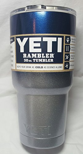 Yeti Rambler 30 Oz, Powder-coated -Sports Team Colors (Metallic Navy Blue/Silver Fusion) (30 ounce) by YETI