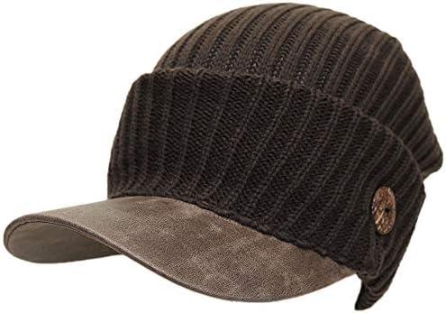 帽子専門店ミッサ・モーレ/ニット帽/ニットキャスケットつば合皮ボタン ミッサ・モーレ (ブラウン)