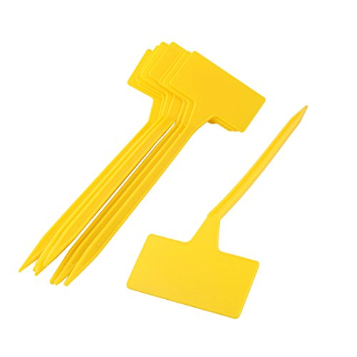 uxcell 10 Pcs Plastic Plant T-Type Tags Markers Garden Labels Home Outdoor Garden Plant Seed Name Plastic Pot Labels Marking Tag Label Marker Yellow
